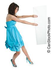 Elegant women pushing copyspace - Young women in elegant...