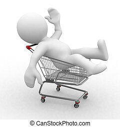3d trolley - 3d human in a shopping trolley