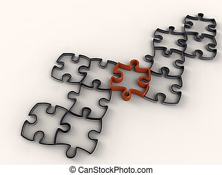 Unique piece - red puzzle piece in a black puzzle on...