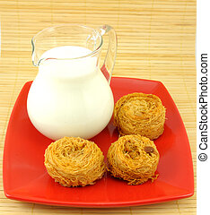 Milk jug and cake on red plate