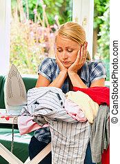 ama de casa, hierro, Durante, planchado, lavadero