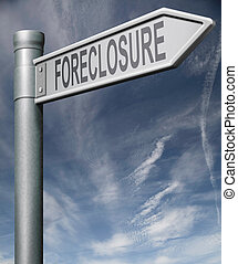 foreclosure sign clipping path - foreclosure road sign...