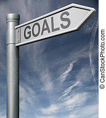 goals road sign clipping path reaching objective or target...