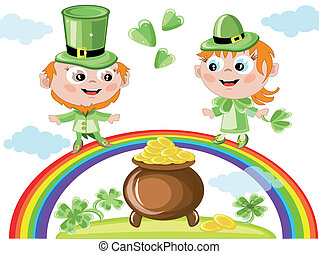 Leprechauns with a gold pot