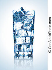 glass of fresh cool water with ice