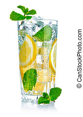 glass of fresh cool water with lemon - full glass of fresh...