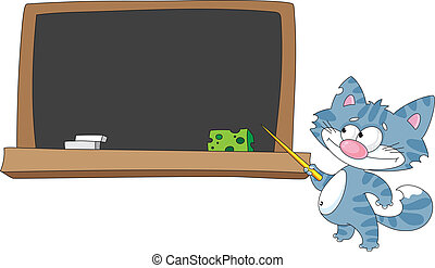 cat with a pointer and blackboard