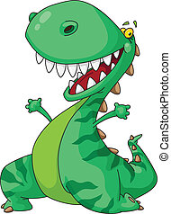 cheerful dinosaur - Illustration of a cheerful dinosaur