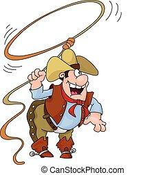 cowboy -  illustration of a cowboy holding a lasso