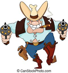 cowboy with revolvers - Illustration of a texas cowboy with...