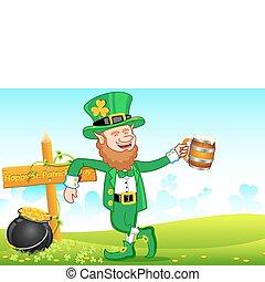 Leprechaun with Beer Mug