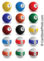 snooker ball - illustration of set on snooker ball on white...
