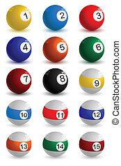 snooker ball - illustration of set on snooker ball on white...