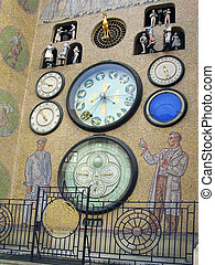 Olomouc Astronomical Clock - A wall of mosaic stones on the...