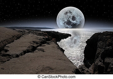 shimmering moon and boulders in rocky burren landscape -...