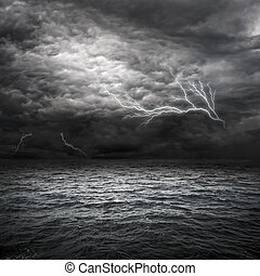 Atlantic Ocean Storm setting in. Lightning over storm clouds...