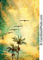 Retro Palms and Pelicans - A retro depiction of California...