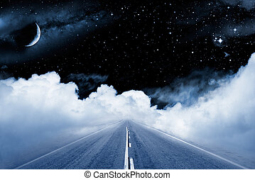 Road to the Galaxy - An empty road leading off into a...