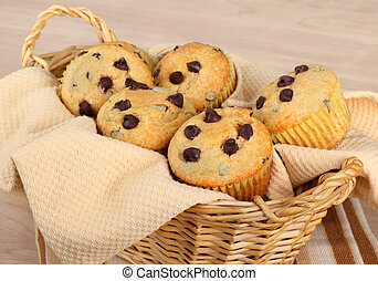 Chocolate Chip Muffins - Baked chocolate chip muffins in a...