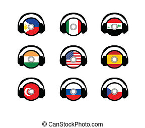 Language 3 - Cds with flags representin languages.