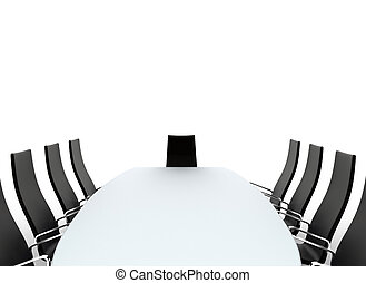 Conference room - Boardroom table and chairs on white...