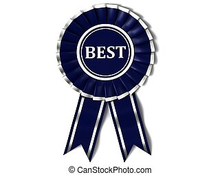 Blue ribbon award with labeled best on a white background.