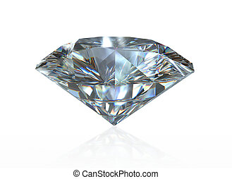 Diamond over a white background - A close up of a diamond...