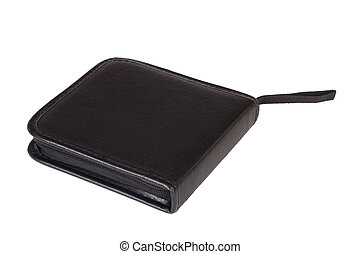 Organiser - Black, leather, personal organizer on a white...