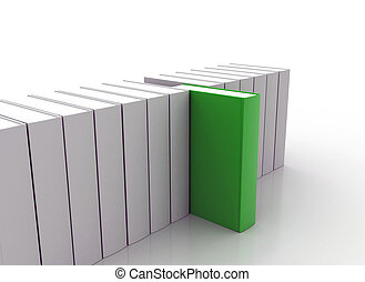 Book standing out - Single green book breaking new grounds