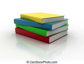 Stacked books - Stack of colored books isolated on white