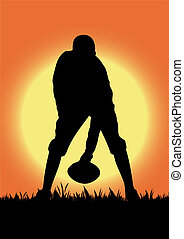 Football playing in the field
