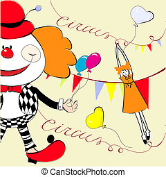 Circus with happy clown