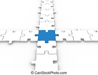 Blue puzzle piece - Business concept puzzle pieces connected...