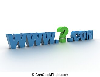 Domain - what domain name to choose  3d illustration