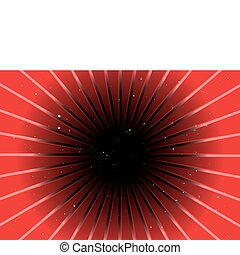 Red tunnel above black hole