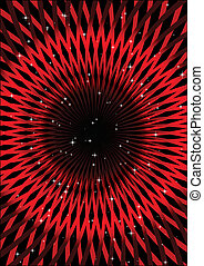 Red abstract shape and stars