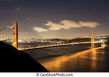 Golden Gate at night with light reflection