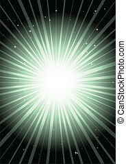 Green abstract spark in space