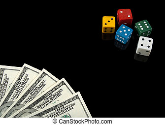 Colorful dices and money on black background