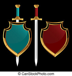 Ancient weapon - Set of boards and swords of different color...