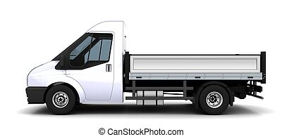 Flat bed van - 3D Render of a flat bed van