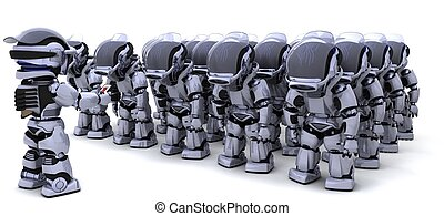 Robot shutting down army of robots - 3D render of a Robot...