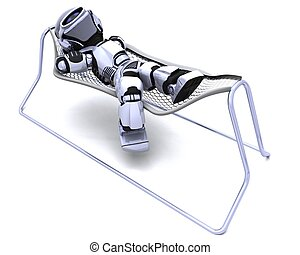 Robot Lying in a Hammock - 3D Render of a Robot Lying in a...