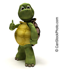 tortoise with thumbs up - 3D render of a tortoise with...