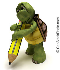 Tortoise holding a pencil - 3D render of a Tortoise holding...