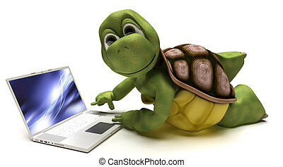 Tortoise on a laptop computer - 3D render of a Tortoise on a...