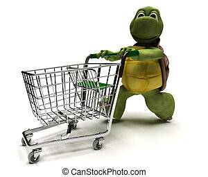 Tortoise with a shopping cart - 3D Render of a Tortoise with...