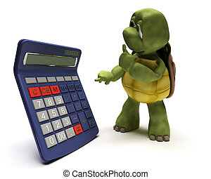 tortoise with a calculator - 3D render of a tortoise with a...