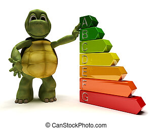 Tortoise with energy ratings - 3D Render of a Tortoise with...