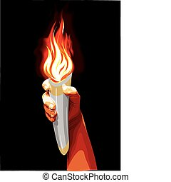 Torch - Human hand with a torch, vector illustration